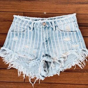 Stripped Jean Shorts
